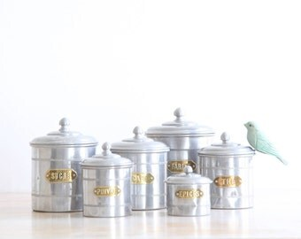 Vintage French Kitchen Canisters, French Aluminum Canisters, Set Of Six  Kitchen Storage Tins,