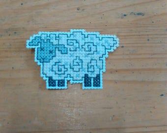 Handmade Cross Stitch Sheep Brooch