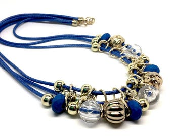 Women's jewellery Handmade Blue Necklace with Golden charms - gift box included. Designed in Venezuela. Latin American, Birthday gift Girls