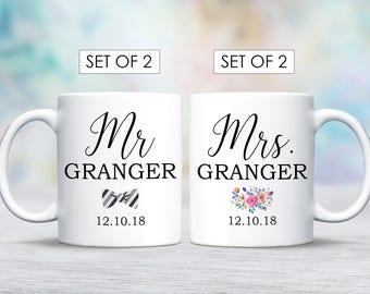 Mr Mrs Mug Set for Wedding Couple, Mug Set for Mr and Mrs Mug Set, Personalised Wedding Couple Mug Set for Wedding Couple, Hubby Wifey Mugs