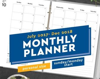 2017-2018 Printable Monthly Planner - Personal Size Planner Inserts PDF: Fits Filofax Personal, Kikki K Medium, Filofax Compact, 3.75 x 6.75