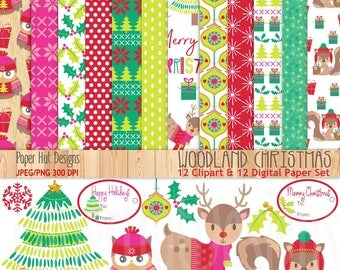 Christmas Digital Papers-Christmas Clipart-Woodland Animals Clip Art-Holiday-Forest Animals-Red-Green-Deer-Squirrel-Owl-BUY2GET1MOREFREE