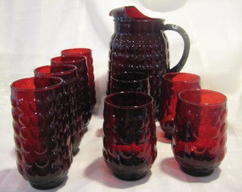 Anchor Hocking Ruby Red Bubble Pitcher, 4 iced tea tumblers, and 4 water tumblers