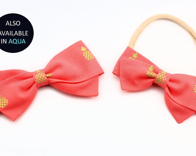 Pineapple Hair Bow - Salmon and Gold Pineapple Hair Bow for clip for girls - Hair Clips, Nylon Headbands or Barrettes