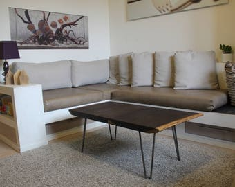 Coffee table or entrance-high quality solid wood of wenge and structure in iron or legs hairpin-customizable