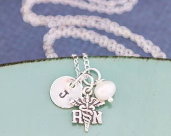 FREE SHIP • Nurse Gift Personalized Nurse Necklace • Sterling Silver Nurse Day Gift RN Necklace • Registered Nurse Appreciation Doula Gift