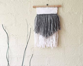 Hand Woven Wall Hanging in White and Grey