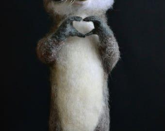 Felted raccoon MADE TO ORDER Felt animals Love raccoon Wool felt Felted miniature Felt sculpture Hand felt animals Felted doll Needlefelting