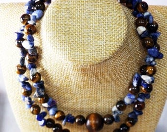 Tiger Eyes Stones with Sodalite Stones Necklace