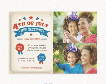 Fourth of July Mini Sessions Photoshop Template, Independence Day Marketing Board, Mini Session Photoshop, 4th of July, Patriotic, USA