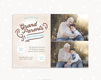 Grandparents Mini Session Template, Generations, Family mini sessions template, Vintage Photography marketing, Photoshop template