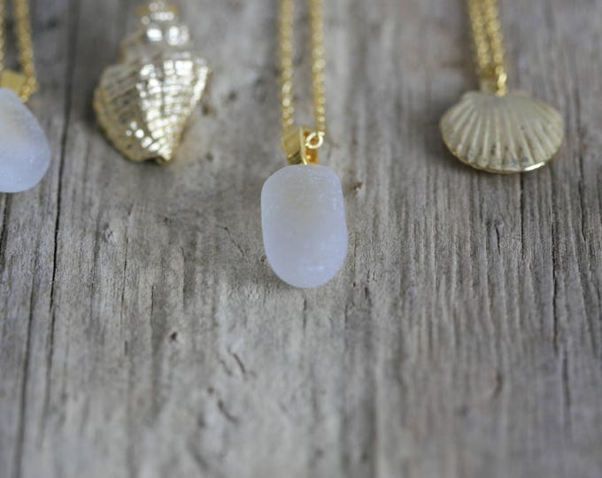 Irish Seaglass and Gold Plated Brass Seashell Necklace | Seaglass Jewellery  | Jewelry | White Seaglass | Beachglass | Nautical