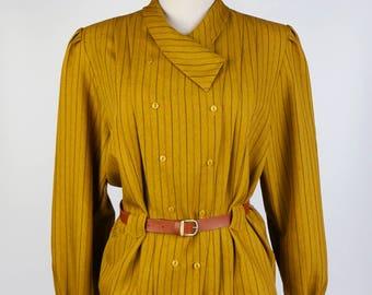 Vintage Blouse, Black Strip Shawl Collar Long Sleeves Brown Women Blouse Size S-M