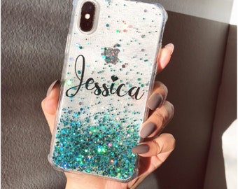 Teal glitter Phone case iPhone 7 case iPhone 7 Plus case iPhone 6s case iPhone 6s Plus case iPhone 8 case iPhone 8 Plus case iPhone x case