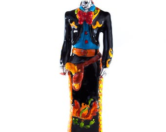 Mexican female singing Charro Catrina, day of the dead inspired mexican ceramic thand painted alavera