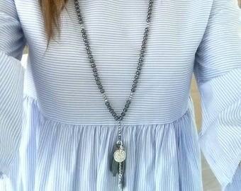 Long Hematite Natural Stone Tassel Beaded Necklace Cross Leather Pendant