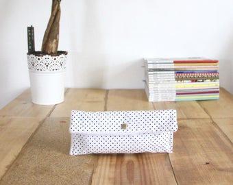 Cotton fleece and white polka dot snap button Pocket