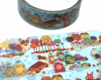 cute puppy lollipop candy washi tape 5M x 1.5cm corgi dog fairy tale candy world masking tape manet farm animal sticker tape dog gift decor