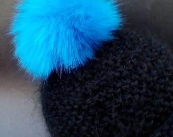 Spare Ocean Blue Fur Pom Pom Bobble for hat with press stud.long fur. Large Detachable 16cm pom pom 45 colours