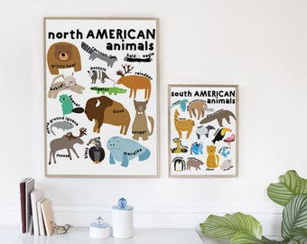 Set of 8th graphics with animals living on different continents. Educational collection. Printable and instant downloadable.