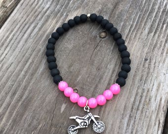 Motocross neon pink bracelet and matte black