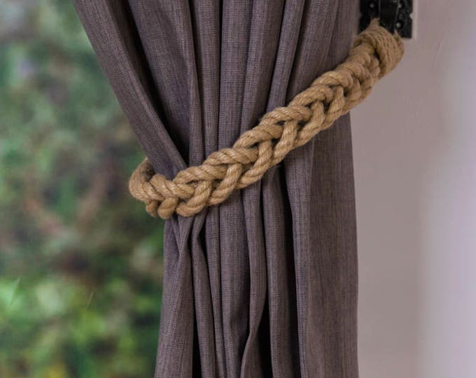 Beige Hemp Rope Braided Curtain Tie-Backs /french nautical living room window treatment/ Drape hold backs/ shabby chic curtain tiebacks