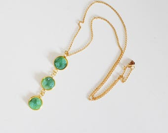 Long necklace mi, with 3 pendant cabochons light mint green, Druzy