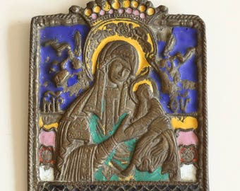 Antique Russian Orthodox Polychrome Enameled Copper Travel Icon of Maria with Child, 19th century