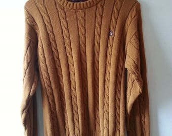 Vintage polo ralph lauren chaps cable knit sweater medium golden brown rare