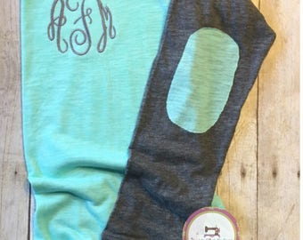 monogrammed shirts women, monogrammed raglan, elbow patch raglan, friend gift, gift for her, gift under 25, baseball shirt, mint grey