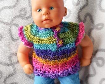 Crochet sweater for 36 cm baby doll