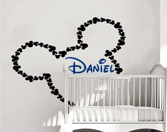 Mickey Mouse Wall Decal Name Boy Vinyl Sticker Decals Personalized Baby Boy  Name Decor Kids Nursery