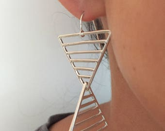 Lines and Shapes Dangly Earrings, Sterling Silver Triangles