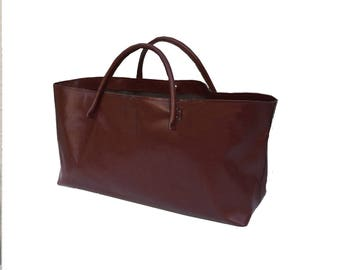 Big leather shopper weeks shopping and more XXL leather bag shopping bag Einkaufsshopper used look leather handmade