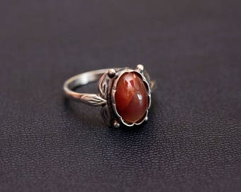 Sterling silver natural carnelian ring. Size - 7 3/4