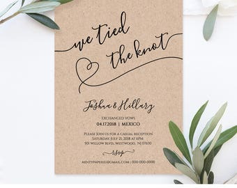 Printable Elope Announcement, We Tied The Knot, Rustic Heart Wedding  Elopement Invitation, Instant