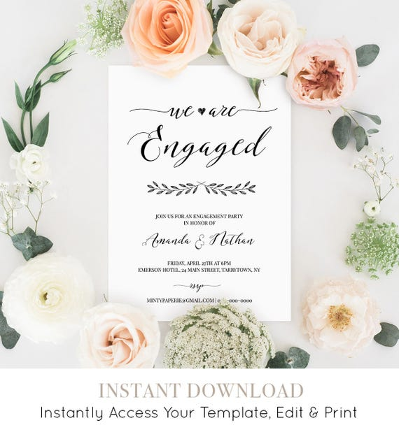 Engagement Party Invitation, Printable Wedding Engagement Invite, We're Engaged, Fully Editable Template, Instant Download, DIY  #024-107EP