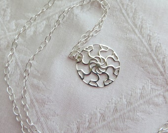 "Sterling Silver Necklace with Circle Pendant, 18"", SN-247-2"