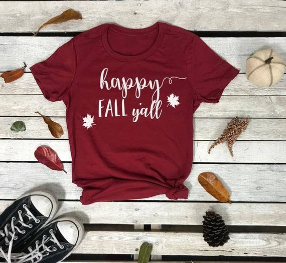 Happy Fall Ya'll Autumn Leaves Women's Short Sleeve Crewneck T Shirt
