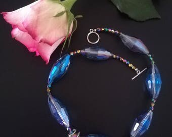 Blue crystal necklace, crystal glass necklace, pendant hands, crystal choker, mystic necklace, evening choker, shining choker, Ievadreamshop