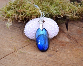 Fiery Labradorite necklace blue labradorite pendant flashy labradorite genuine gemstone necklace for girlfriend labradorite jewelry gift