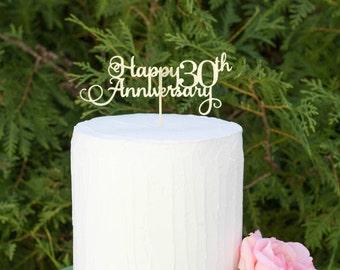 Happy 30th Anniversary Cake Topper, Gold Silver Cake Topper, Anniversary Cake Topper, Personalized Cake Topper, Any number cake topper