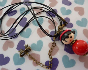 Choker necklace with pendant red cord polymer clay kawaii chibi girl black metal bow charm bronze