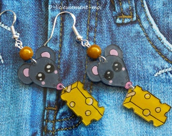 Sterling silver 925 earrings with a pineapple made with crazy plastic and love charm