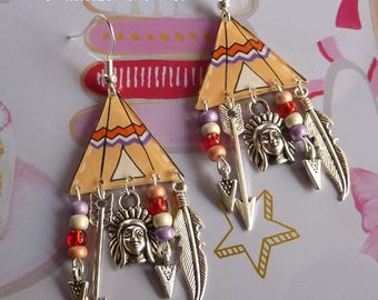 Earrings silver sterling 925 tries Indian Tepee crazy shrink plastic and Indian charms arrow feather triangle seed bead
