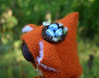 Blythe Hat Doll clothes Blythe Easter hat Pullip outfit Fox hood with nest  Doll helmet Blythe custom Pullip clothes  bjd hat BJD SD hat