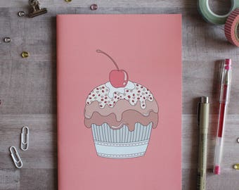 NOTEBOOK. A5 Cute Muffin Notebook. Soft 300 gsm Card Cover. 40 lined pages. Matte lamination pleasant to the touch.