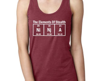 Funny Tank Top, Science Ninja, The Elements of Stealth, Racerback Tank Top for Ladies, Great Gift Idea, Chemistry Nerd, Fashion