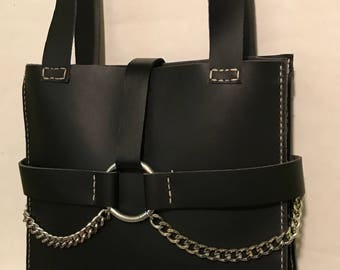 Large Black Chain Accented Leather Handbag