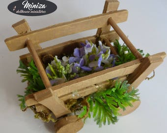 Wooden trolley with flowers, 1:12 scale